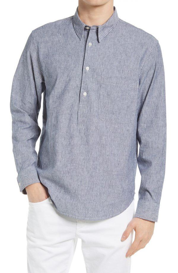 Men's Club Monaco Slim Fit Stripe Chambray Popover Shirt, Size Medium - Blue