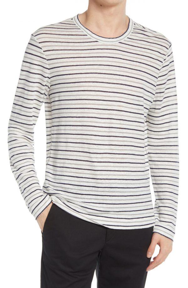 Men's Club Monaco Slim Fit Stripe Long Sleeve Linen T-Shirt, Size Small - Blue