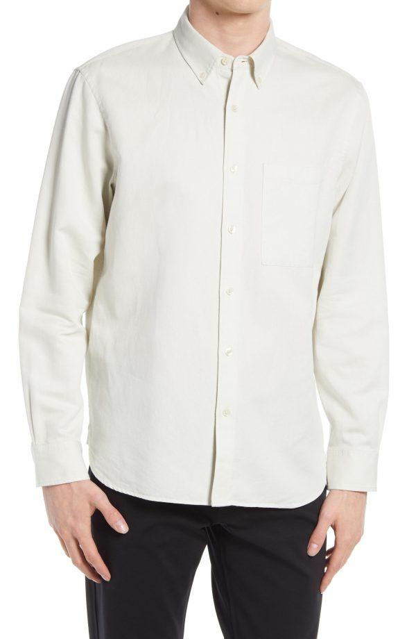 Men's Club Monaco Slim Fit Twill Button-Down Shirt, Size Medium - White