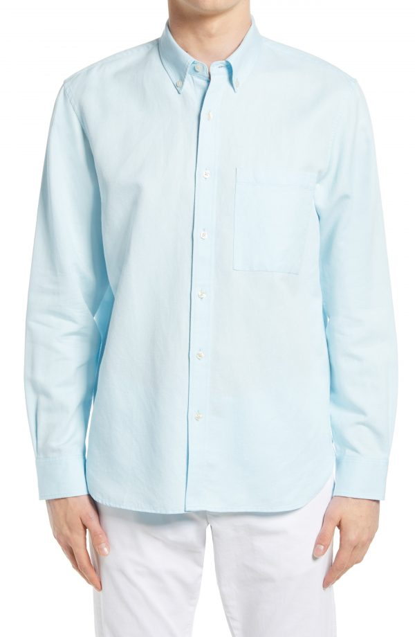 Men's Club Monaco Slim Fit Twill Button-Down Shirt, Size Small - Blue