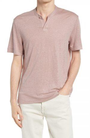 Men's Club Monaco Slub Linen Henley T-Shirt, Size Small - Purple