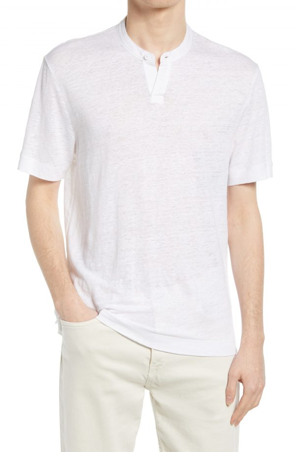 Men's Club Monaco Slub Linen Henley T-Shirt, Size Small - White