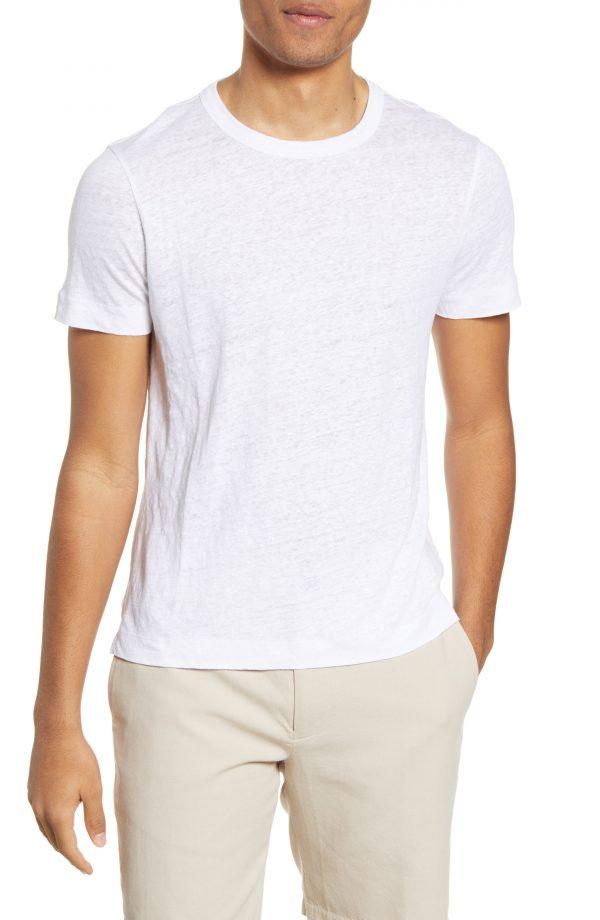Men's Club Monaco Slub Linen T-Shirt, Size Medium - White