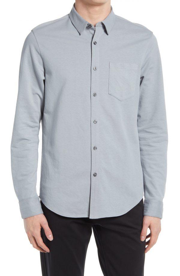 Men's Club Monaco Solid Knit Long Sleeve Button-Up Shirt, Size Medium - Grey