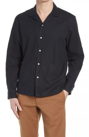 Men's Club Monaco Solid Stretch Button-Up Shirt, Size Small - Black