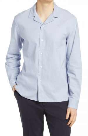 Men's Club Monaco Solid Stretch Button-Up Shirt, Size Small - Blue