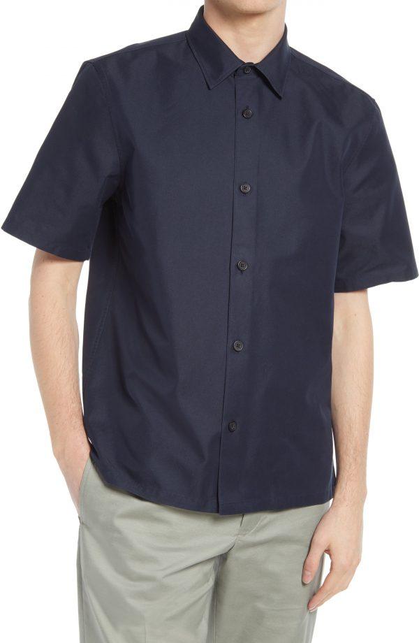Men's Club Monaco Standard Short Sleeve Button-Up Shirt, Size X-Small - Blue