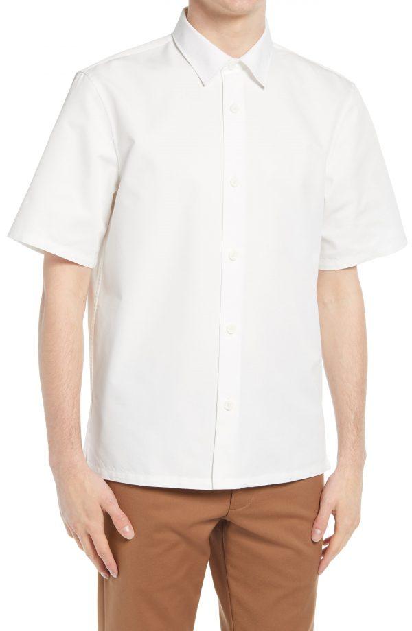 Men's Club Monaco Standard Short Sleeve Button-Up Shirt, Size XX-Large - White