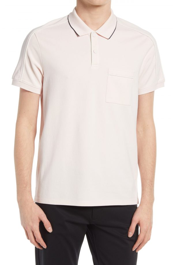 Men's Club Monaco Stretch Cotton Piped Polo Shirt, Size Large - Pink
