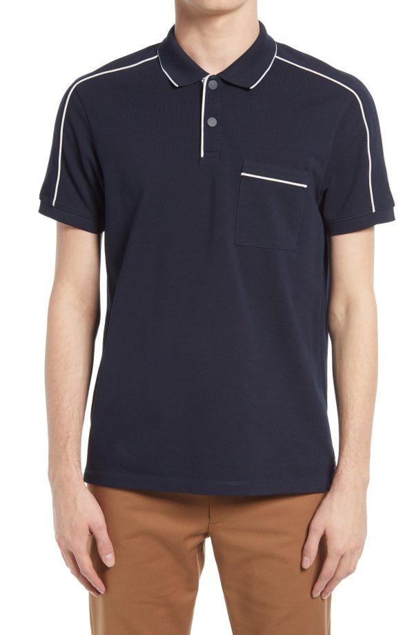 Men's Club Monaco Stretch Cotton Piped Polo Shirt, Size X-Large - Blue