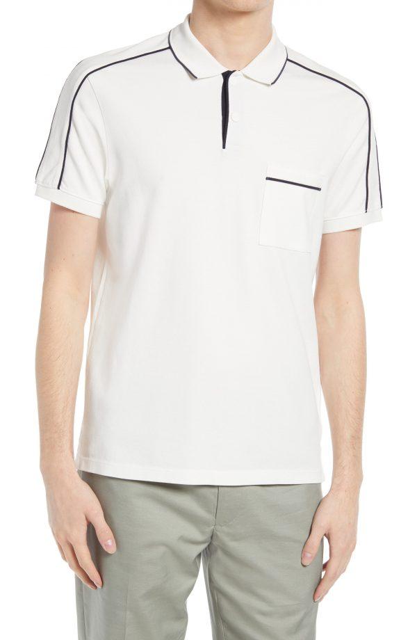 Men's Club Monaco Stretch Cotton Piped Polo Shirt, Size X-Large - White