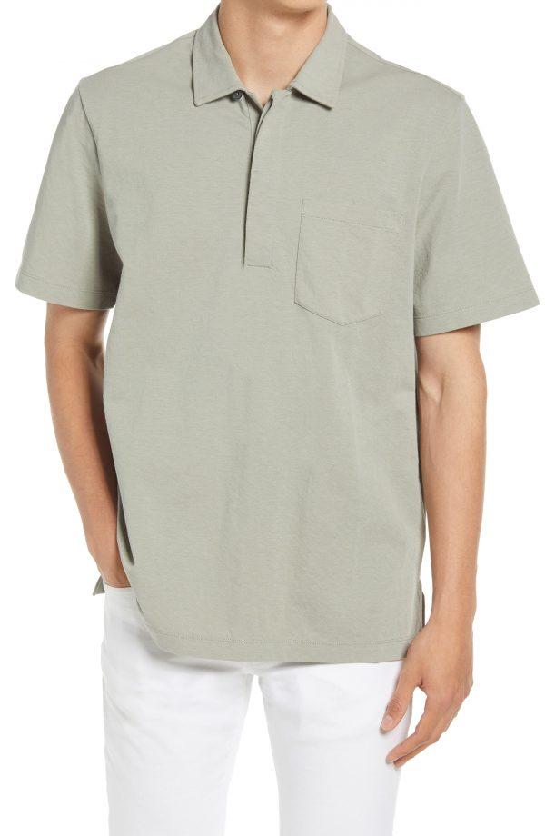 Men's Club Monaco Stripe Cotton Blend Polo, Size Small - Grey