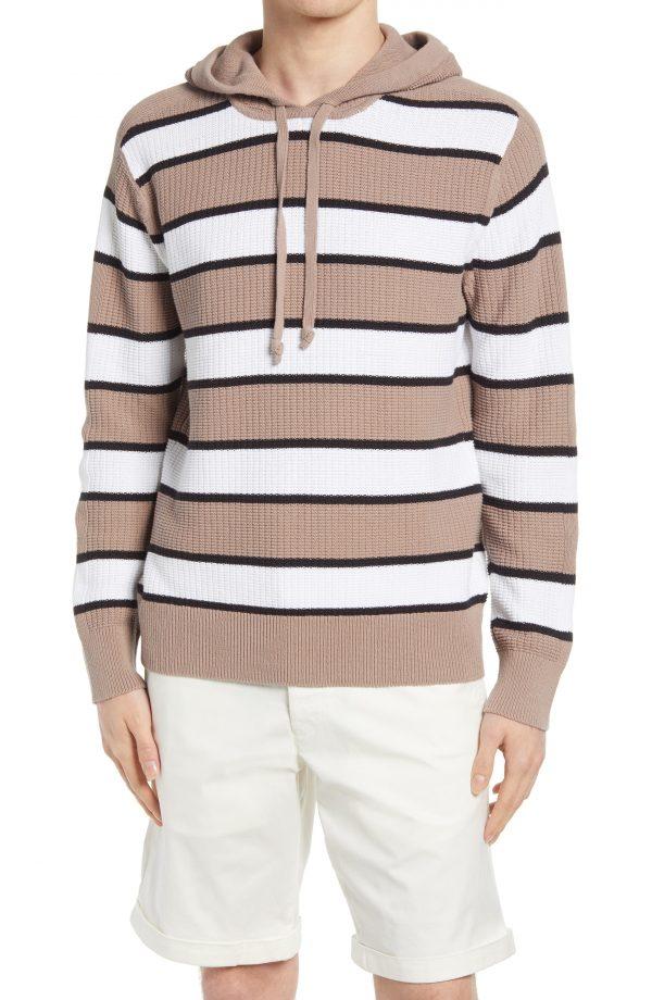 Men's Club Monaco Stripe Cotton Hoodie Sweater, Size Small - Grey