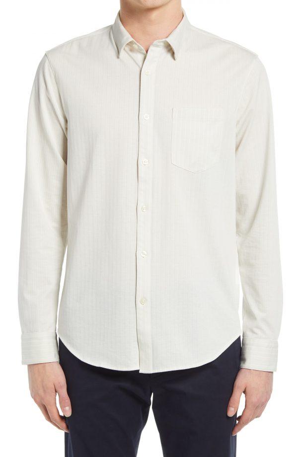 Men's Club Monaco Stripe Knit Long Sleeve Button-Up Shirt, Size Medium - White