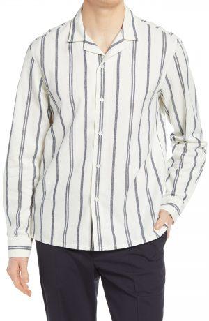 Men's Club Monaco Stripe Linen Blend Button-Up Shirt, Size Medium - White