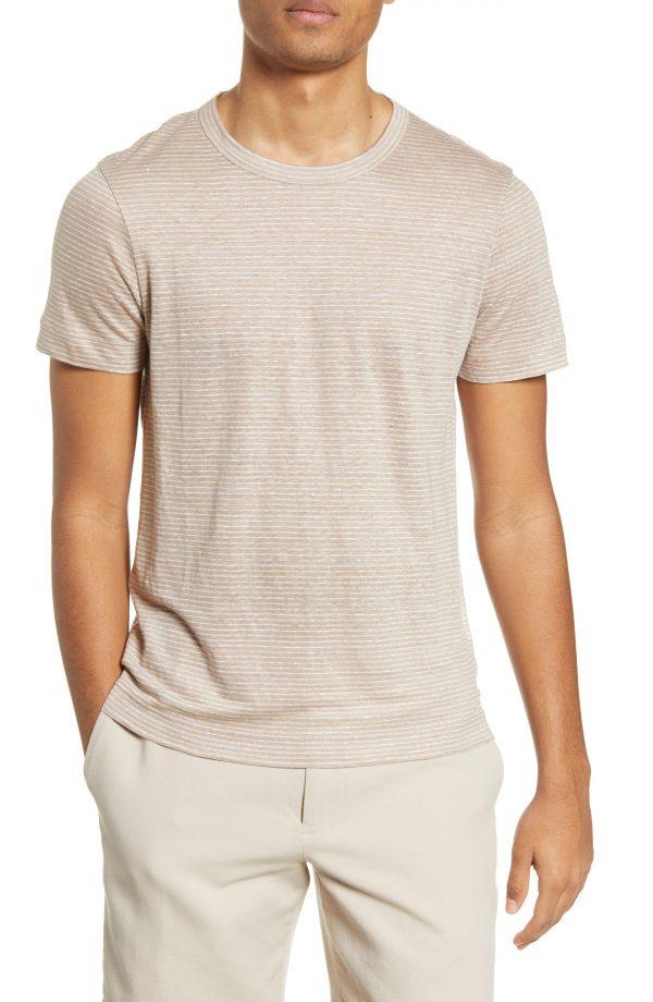 Men's Club Monaco Stripe Linen T-Shirt, Size Small - Beige