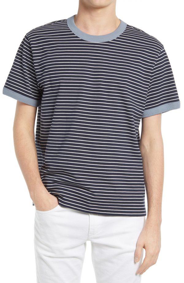 Men's Club Monaco Stripe Ringer T-Shirt, Size Medium - Blue