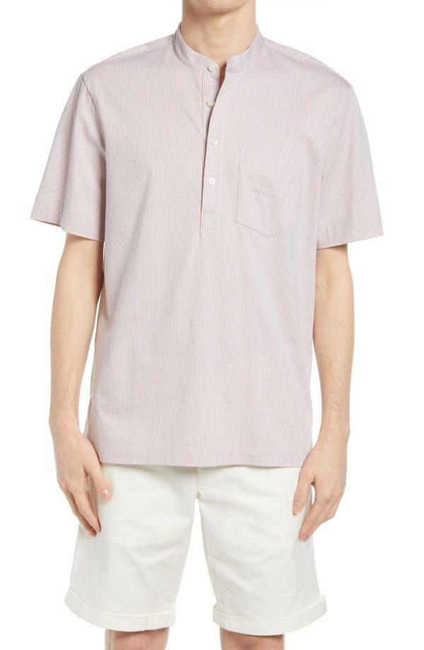 Men's Club Monaco Stripe Shirting Pullover, Size Medium - White