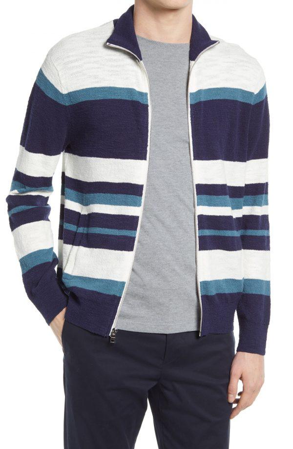 Men's Club Monaco Stripe Zip Front Boucle Cardigan, Size Small - Blue