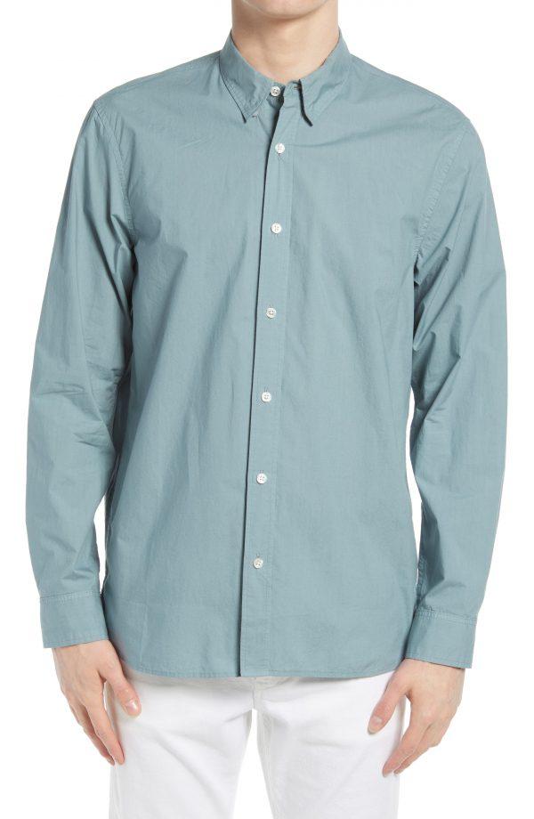Men's Club Monaco Tea Dye Cotton Poplin Long Sleeve Button-Down Shirt, Size Small - Blue