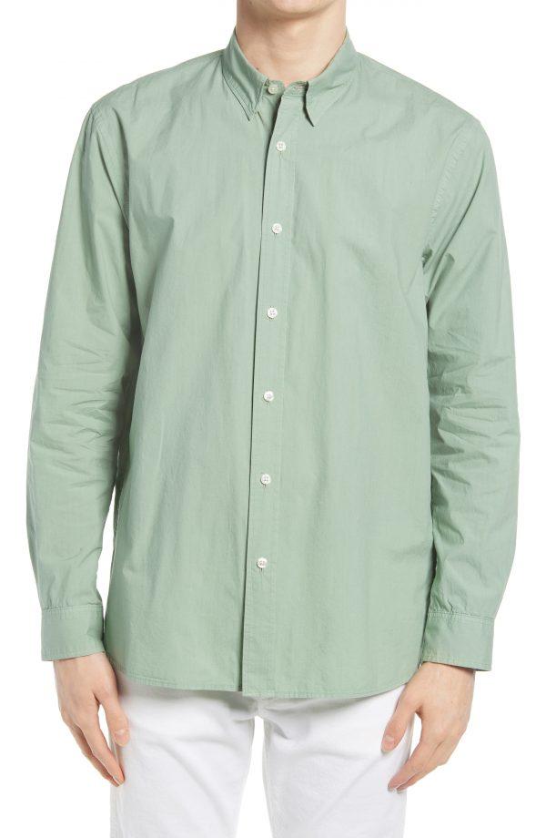 Men's Club Monaco Tea Dye Cotton Poplin Long Sleeve Button-Down Shirt, Size Small - Green