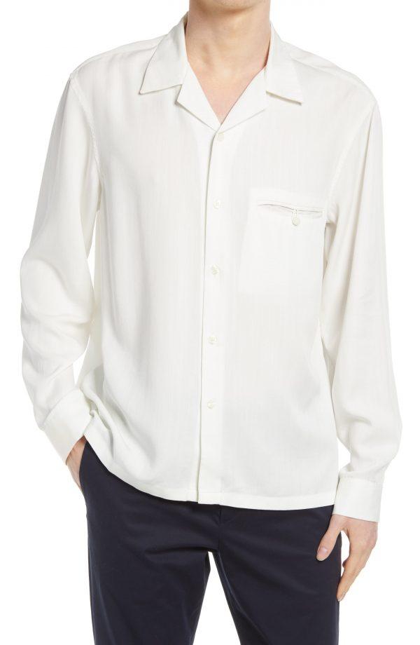Men's Club Monaco Tencel Lyocell Button-Up Shirt, Size Large - White