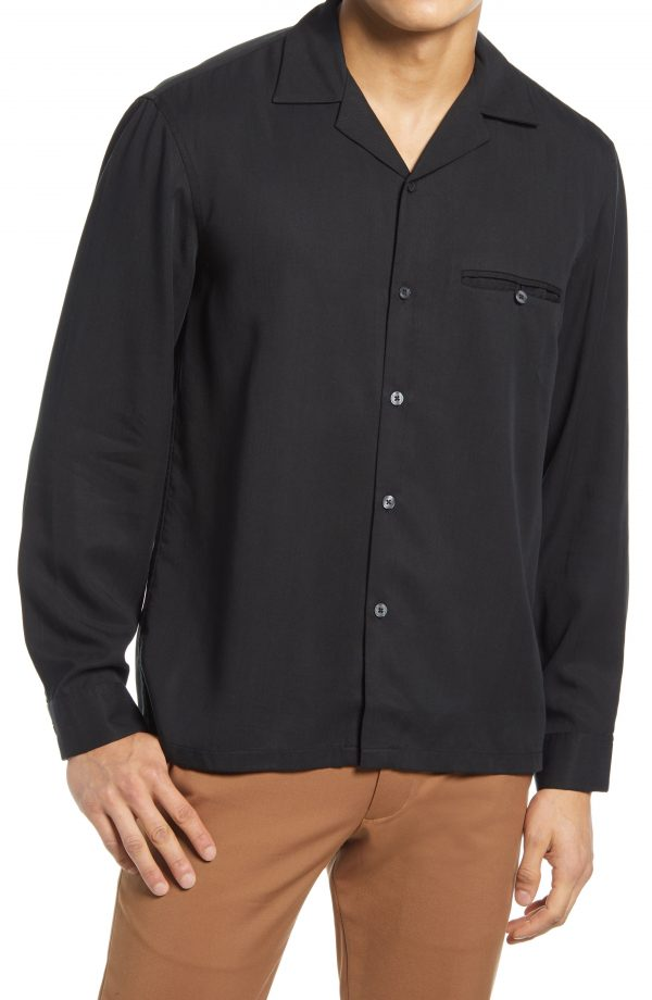 Men's Club Monaco Tencel Lyocell Button-Up Shirt, Size Medium - Black