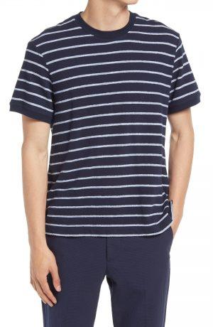 Men's Club Monaco Textural Stripe T-Shirt, Size Small - Blue