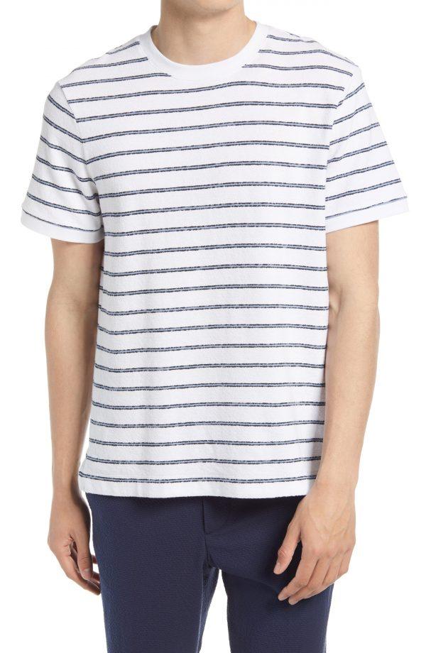 Men's Club Monaco Textural Stripe T-Shirt, Size Small - White