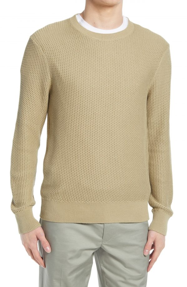 Men's Club Monaco Texture Stitch Cotton Sweater, Size X-Small - Beige