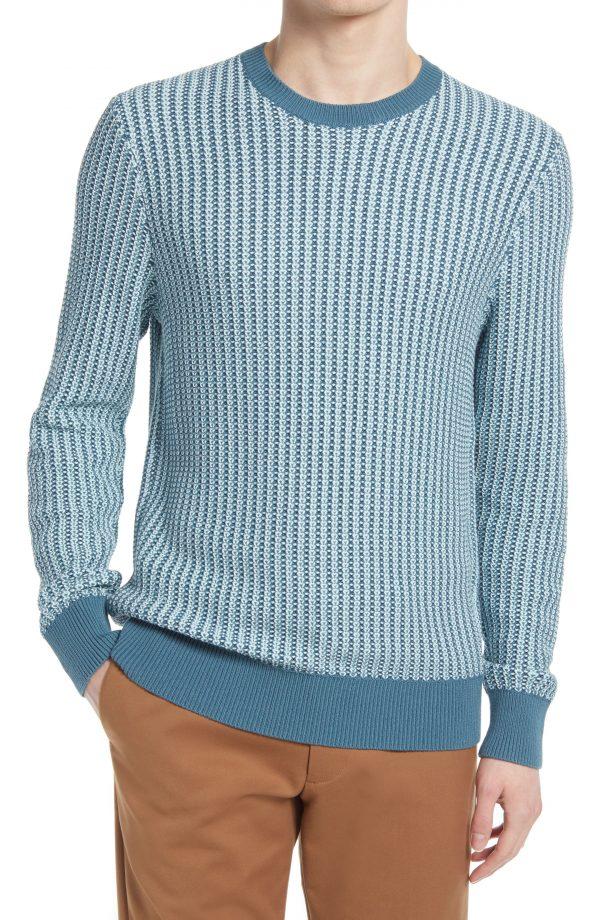 Men's Club Monaco Texture Stitch Cotton Sweater, Size X-Small - Blue