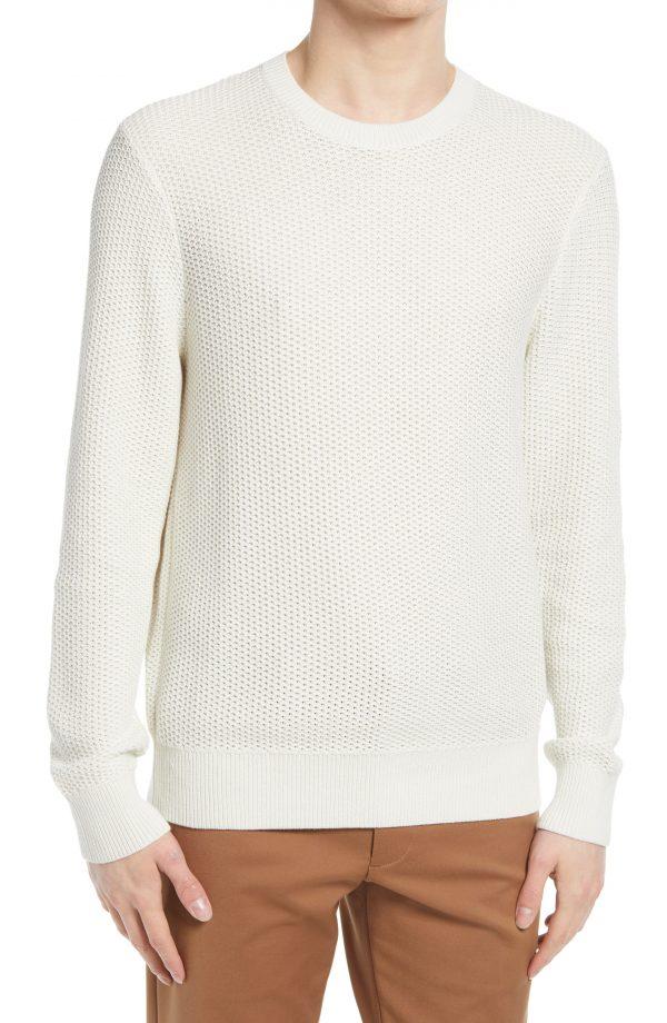 Men's Club Monaco Texture Stitch Cotton Sweater, Size X-Small - White