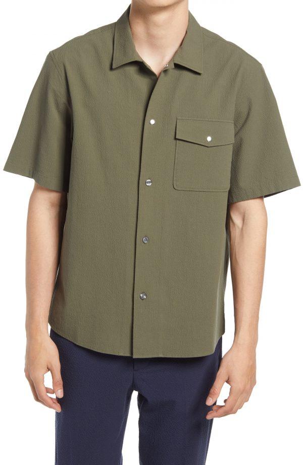 Men's Club Monaco Textured Stretch Cotton Button-Up Shirt, Size Medium - Green