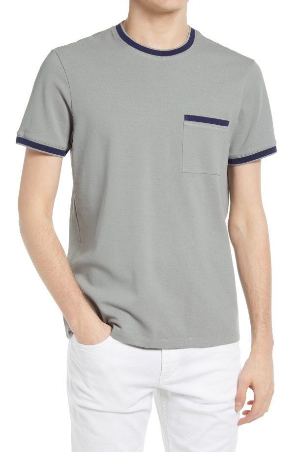 Men's Club Monaco Tipped Pique T-Shirt, Size Small - Blue