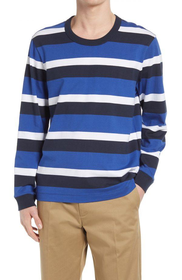 Men's Club Monaco Triple Stripe Long Sleeve T-Shirt, Size Small - White