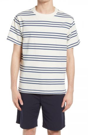 Men's Club Monaco Triple Stripe T-Shirt, Size Small - Beige