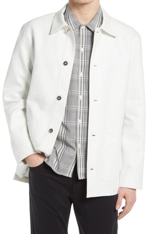 Men's Club Monaco Twill Chore Jacket, Size Medium - White