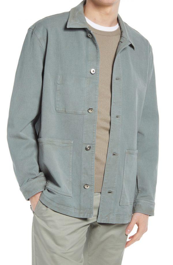 Men's Club Monaco Twill Chore Jacket, Size Small - Blue