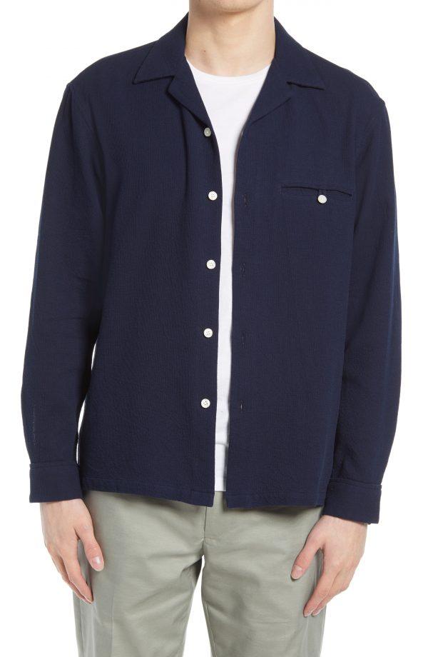 Men's Club Monaco Waffle Button-Up Shirt, Size X-Small - Blue