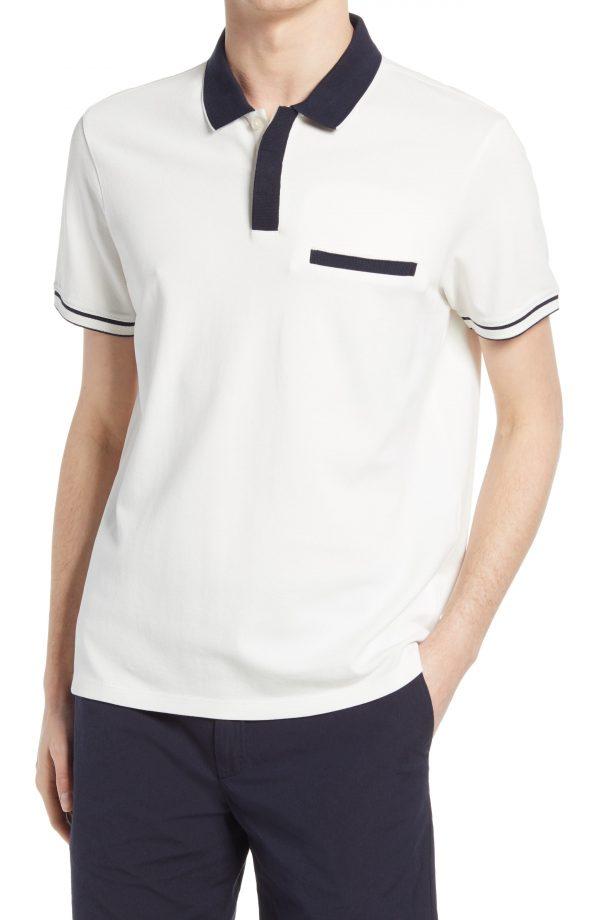 Men's Club Monaco Welt Pocket Polo, Size Large - White
