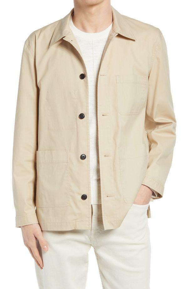 Men's Club Monaco Workwear Cotton Blend Jacket, Size Small - Beige
