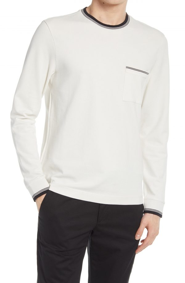Men's Club Monado Long Sleeve Pique Pocket T-Shirt, Size Large - White