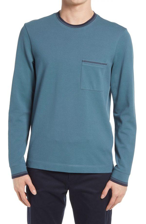 Men's Club Monado Long Sleeve Pique Pocket T-Shirt, Size Medium - Blue