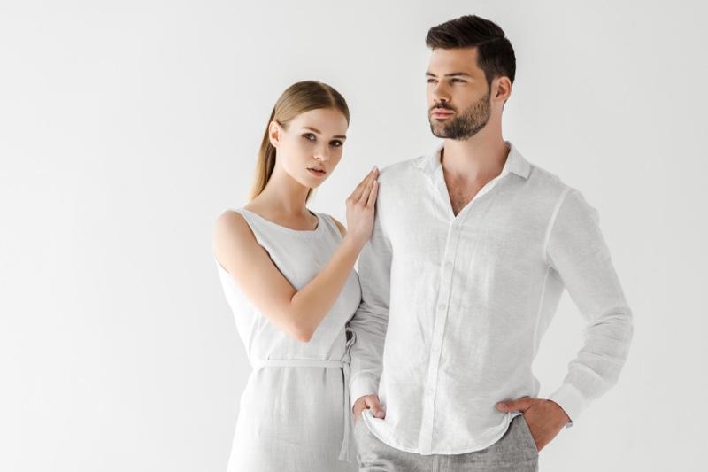 Model Couple White Dress Shirt Outfits