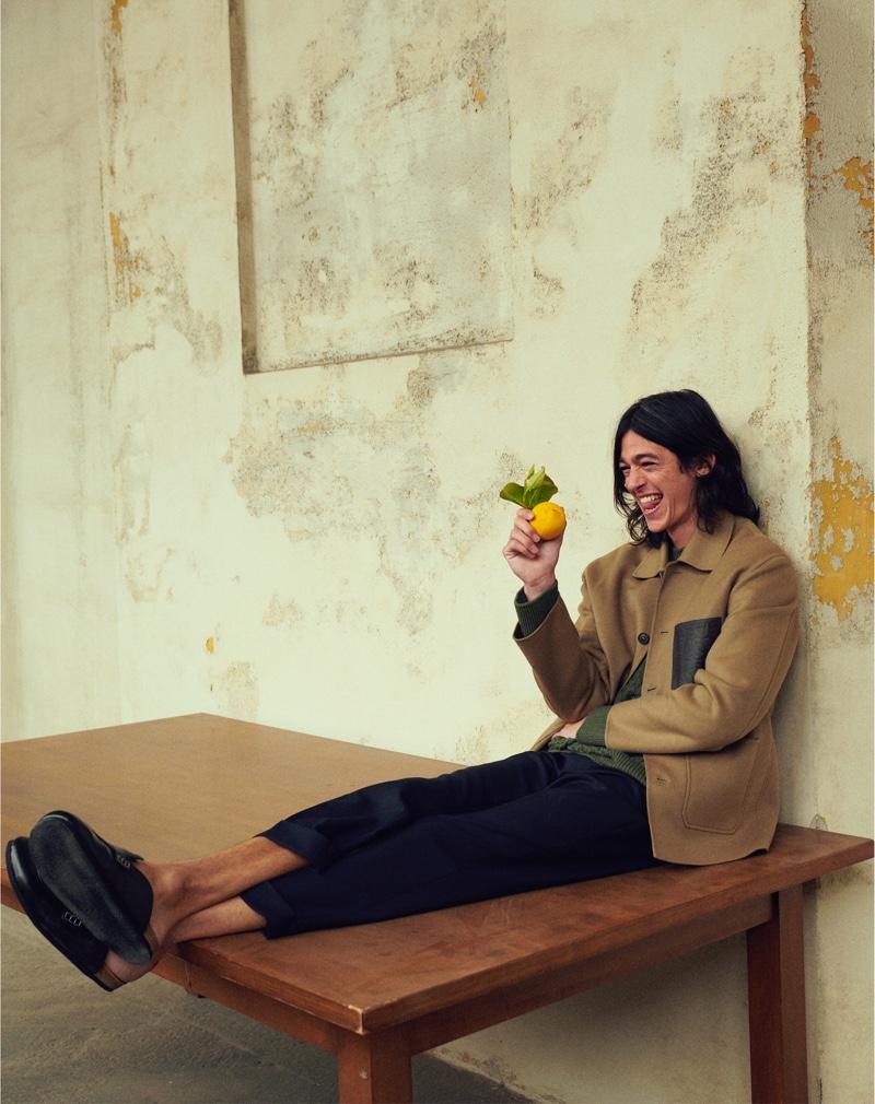 All smiles, Matthias El Koulali wears Loewe for Mytheresa's pre-fall 2021 men's campaign.