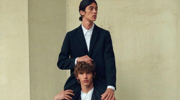 Models Erik Van Gils and Matthias El Koulali suit up for Mytheresa's pre-fall 2021 men's campaign.
