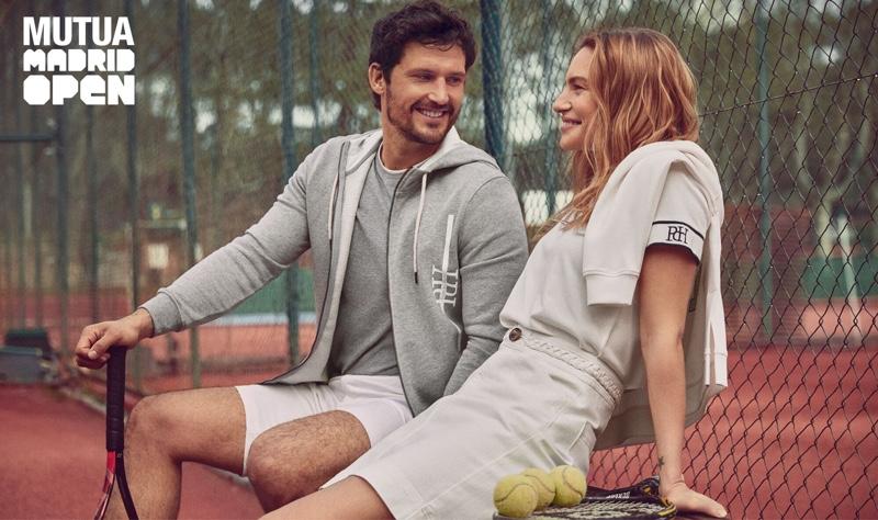 Models Sam Webb and Renee Meijer sport gray tennis style from Pedro del Hierro.