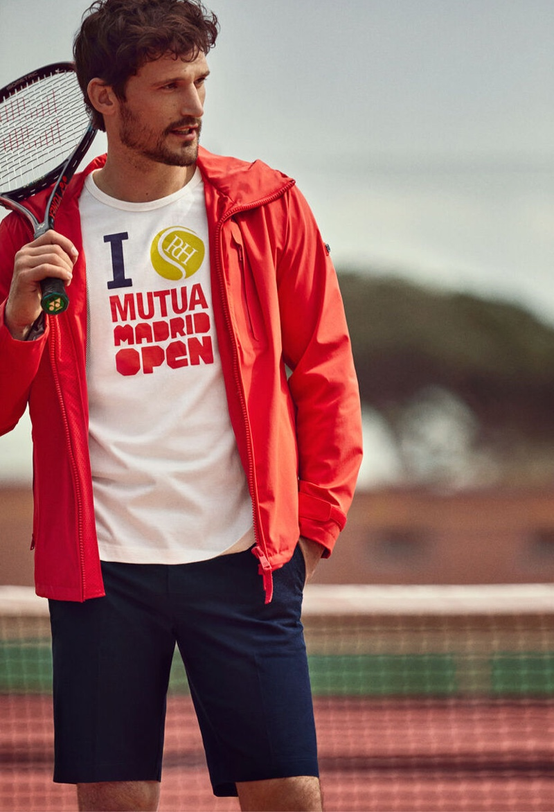 Sam Webb embraces sporty style in a Mutua Madrid Open t-shirt from Pedro del Hierro.