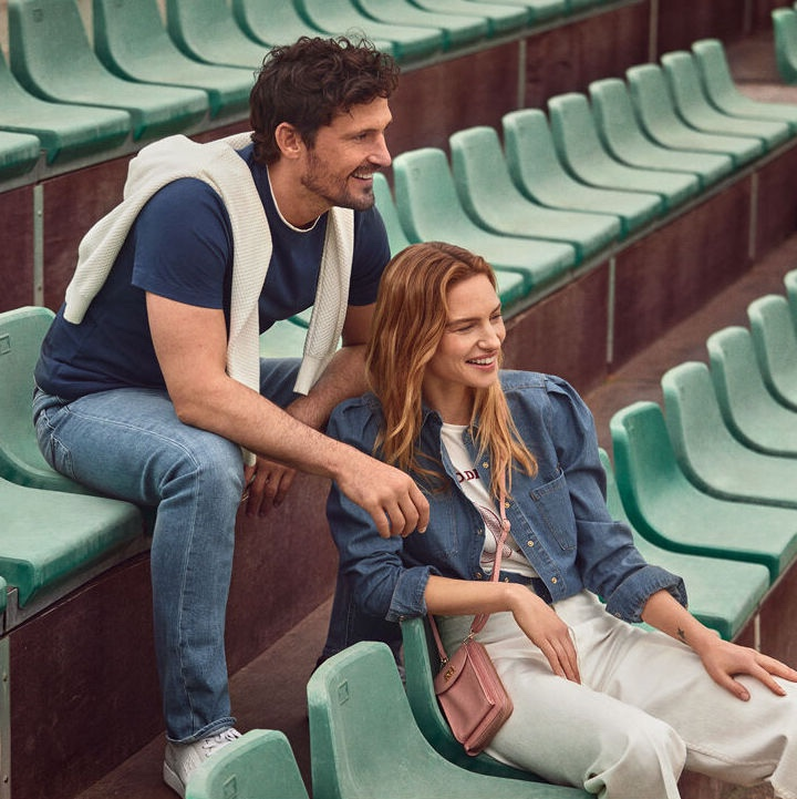 Ready to watch a tennis match, models Sam Webb and Renee Meijer  come together for Pedro del Hierro.