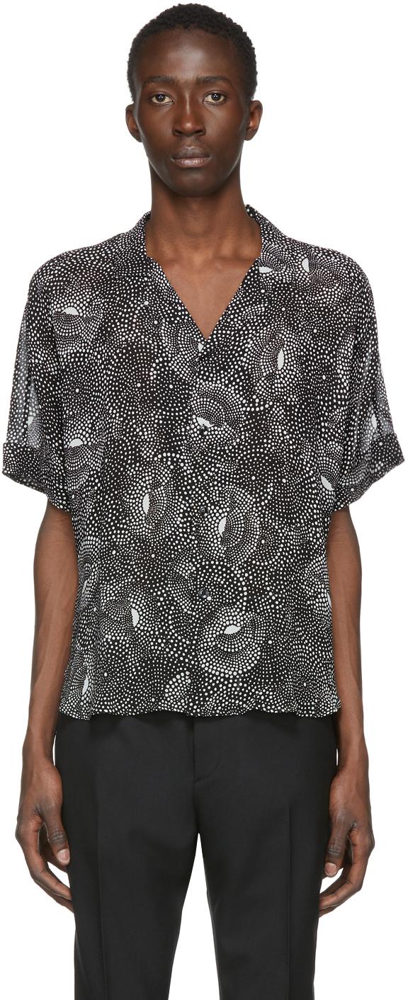 Saint Laurent Black Dotted Spiral Georgette Shirt